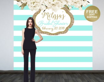 Bridal Shower Personalized Photo Backdrop | Aqua Stripes Photo Backdrop | Birthday Photo Booth Backdrop | Birthday Backdrop | Baby Shower