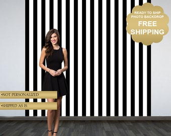 Black and White Stripes Photo Backdrop - Printed Backdrop - Vinyl Backdrop - Ready to Ship Backdrop - Birthday Backdrop - Bridal Shower