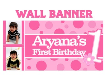 First Birthday Photo Banner ~ The Big ONE Personalized Photo Party Banners, Girls First Birthday Banner, Printed Banner, Vinyl Banner