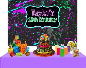 Neon Party Personalized Backdrop - Birthday Photo Backdrop - 13th Birthday Backdrop, Glow Party Backdrop, Birthday Backdrop, Printed