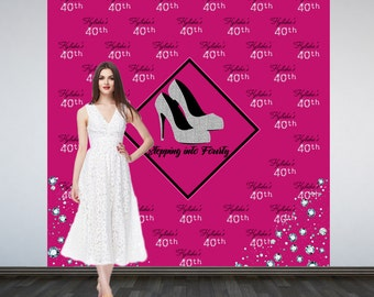 Stepping into 40 Photo Backdrop - Step and Repeat Personalized Photo Backdrop - Photo Booth Backdrop- Silver Heels Party Backdrop - Printed
