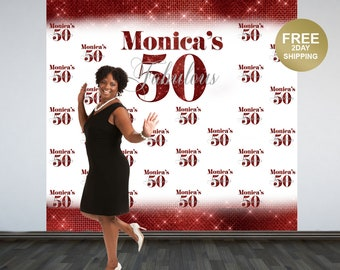 Fabulous 50 Personalized Backdrop | Red Photo Backdrop | 50th Birthday Photo Backdrop | Printed Photo Booth Backdrop | Birthday Backdrop