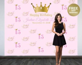 Quinceañera Step & Repeat Photo Backdrop | Sweet 16 Photo Backdrop | Mis Quince Photo Backdrop | 15th Birthday Backdrop | Princess Backdrop