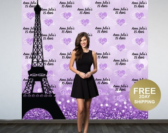 Paris Photo Backdrop | Step and Repeat Eiffel Tower Backdrop | Birthday Photo Backdrop | Paris Backdrop | Birthday Backdrop | Mis Quince