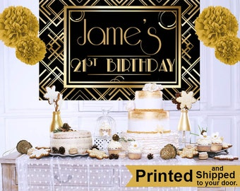 Art Deco Personalized Photo Backdrop - 21st Birthday Cake Table Backdrop - Great Gatsby Photo Backdrop - Party Backdrop, Birthday Backdrop