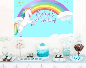 Rainbow Unicorn Personalized Party Backdrop - Birthday Cake Table Backdrop - Baby Shower Photo Backdrop, Birthday Backdrop, Printed Backdrop