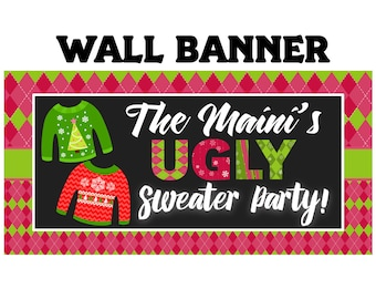 Ugly Sweater Party Photo Banner, Christmas Ugly Sweater Personalized Banner, Holiday Party Banner, Vinyl Printed Banner, Ugly Sweater Banner