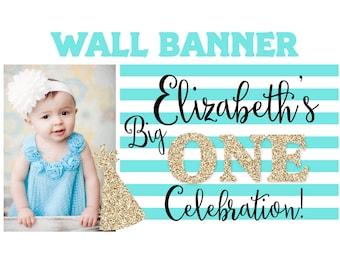 Big One Sparkle Birthday Banner ~ Personalized Party Banners Photo First Birthday Banner, Printed Banner, Birthday Celebration Banner