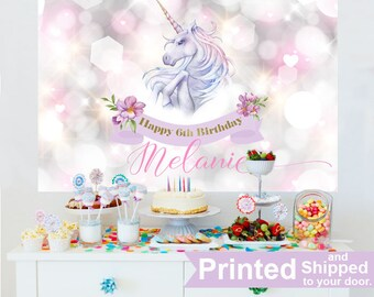 Unicorn Personalized Backdrop, Baby Shower Cake Table Backdrop, First Birthday Photo Backdrop, Birthday Backdrop, Unicorn Backdrop, Printed
