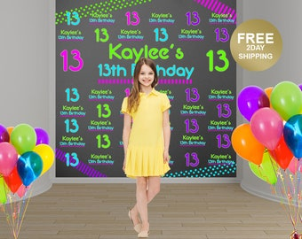 Neon Party Personalized Photo Backdrop | Birthday Photo Backdrop | 13th Birthday Backdrop | Step and Repeat Backdrop | Printed Backdrop