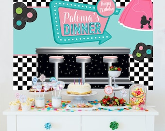 Sock Hop Personalized Backdrop - 50's Dinner Cake Table Backdrop - Rock and Roll Photo Backdrop, Poodle Skirt Backdrop, Birthday Backdrop