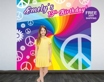 Retro Party Personalized Photo Backdrop | Birthday Photo Backdrop | 13th Birthday Photo Backdrop | Hippie Backdrop | Rainbow Backdrop