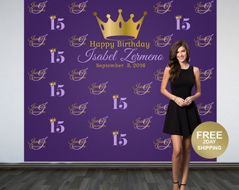 Quinceanera Step and Repeat Personalized Photo Backdrop -Sweet 16 Photo Backdrop- Royal Princess Photo Backdrop, Custom Backdrop