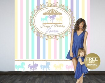 Carousel Personalized Photo Backdrop - 1st Birthday Photo Backdrop - Printed Photo Booth Backdrop, Carnival Backdrop, Birthday Backdrop