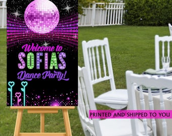Disco Party Welcome Sign - Welcome to the Party Sign, Dance Party Welcome Sign, Foam Board Welcome Sign, Printed Welcome Sign, Birthday Sign