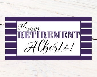 Happy Retirement Banner ~ Personalized Party Banner- Retirement Party Banner, Congratulations Banner, Printed Vinyl Banner, Purple Banner
