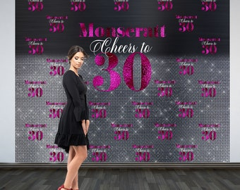 Cheers to 30 Personalized Photo Backdrop   30th Birthday Photo Backdrop   Step & Repeat Photo Backdrop, Birthday Backdrop   40th Birthday