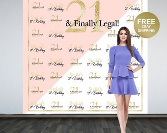 21 and Finally Legal Party Personalized Photo Backdrop | 21st Birthday Step & Repeat Photo Backdrop | Birthday Photo Backdrop | Printed