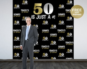 50th Birthday Personalized Photo Backdrop | BIG 50 Photo Backdrop | Birthday Photo Backdrop | Step and Repeat Backdrop | Gold and Silver