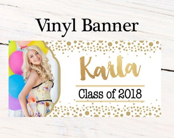 Graduation Class of 2018 Photo Banner ~ Congrats Grad Personalize Party Banners -Photo Grad Vinyl Banner, Printed Graduation Vinyl Banner