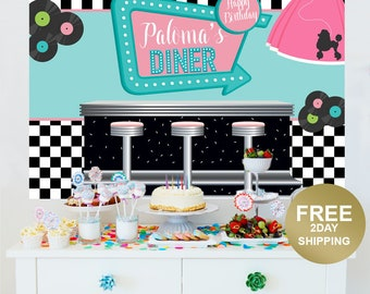 Sock Hop Personalized Backdrop | 50's Diner Cake Table Backdrop | Rock and Roll Photo Backdrop | Poodle Skirt Backdrop | Birthday Backdrop