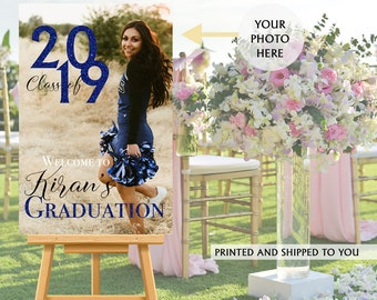 Class of 2019 Graduation Photo Welcome Sign - Grad Party Welcome Sign - Welcome Sign Congrats, Foam Board Sign, Graduation Canvas Party Sign