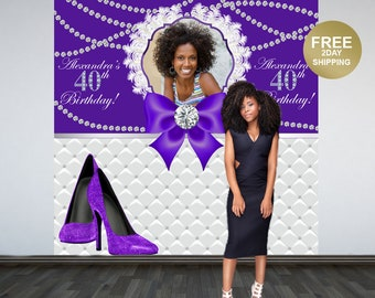 40th Birthday Photo Backdrop | Fashion Heels Photo Backdrop | 50th Birthday Backdrop | Diamonds Photo Booth Backdrop | Birthday Backdrop