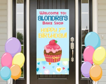 Cupcake Birthday Door Banner  ~ Personalize Baking Party Girl Party Banner