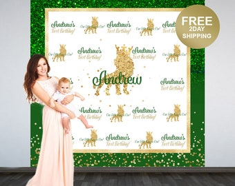 1st Birthday King Personalized Photo Backdrop | Lion King Photo Backdrop | 1st Birthday Photo Backdrop | Printed Photo Booth Backdrop