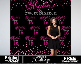 Sweet 16th Personalized Photo Backdrop -Birthday Party Photo Backdrop- Custom Party Photo Backdrop, 16th Birthday Backdrop, Sweet Sixteen