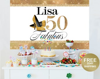 50th Birthday Personalized Photo Backdrop - Birthday Cake Table Backdrop- Fabulous 50th Birthday Backdrop - High Heels Party Photo Backdrop