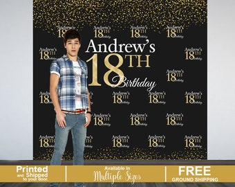 18th Birthday Personalized Photo Backdrop -Birthday Party Photo Backdrop- Custom Photo Backdrop, 16th Birthday Backdrop, Printed Backdrop