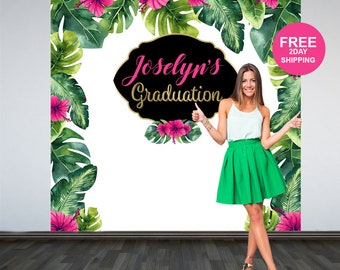 Graduation Photo Backdrop | Personalized Photo Backdrop | Class of 2019 Backdrop | Congrats Grad Photo Backdrop | Tropical Grad Backdrop