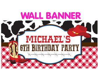 Western Birthday Banner  ~ Personalized Cowboy Party Banners, Red Cowboy Personalized Banner, Custom Banner, Printed Banner