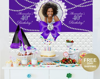 40th Birthday Personalized Backdrop | Birthday Cake Table Backdrop | Birthday Backdrop | Heels Birthday Backdrop | Diamonds Photo Backdrop