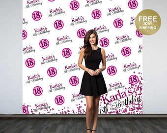 18th Birthday Personalized Photo Backdrop | Fushia Sparkle Photo Backdrop | 21st Birthday Backdrop | Birthday Backdrop | Step and Repeat