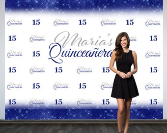 Mis Quince Personalized Photo Backdrop -Royal Blue Birthday Photo Backdrop- Step and Repeat Photo Backdrop, 15th Birthday Photo Backdrop