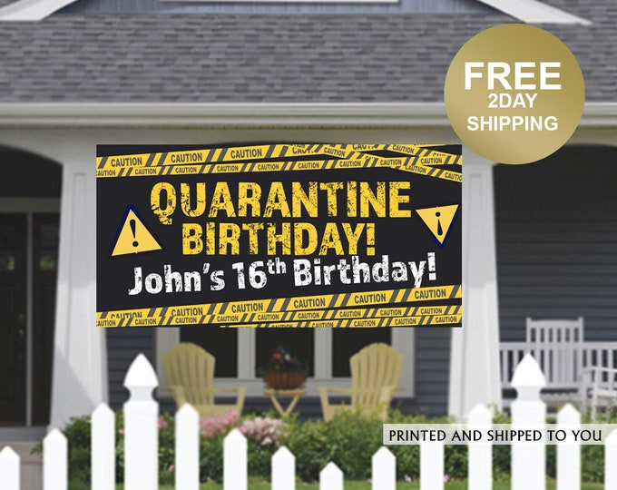 Featured listing image: Quarantine Birthday Banner | Personalized Birthday Banner | Outdoor Banner | Birthday Banner | Quarantine Birthday Banner, Lawn Banner