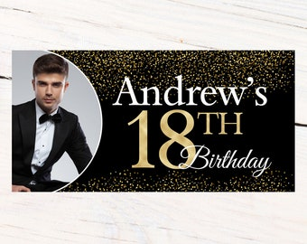 18th Birthday Personalized Banner, Birthday Personalized Party Banners- Gold and Black Custom Photo Banner, Confetti Sparkle Banner, Printed