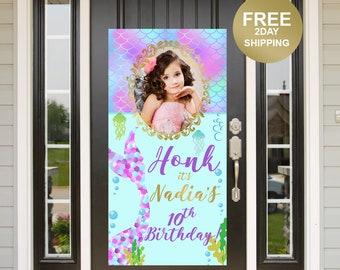 Mermaid Birthday Door Banner | Birthday Quarantine Banner | Birthday Door Banner | Photo Birthday Door Banner | Birthday Yard Banner
