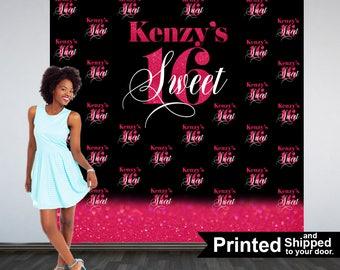 Sweet 16 Personalized Photo Backdrop, Pink & Black Photo Backdrop- 16th Birthday Photo Backdrop, 21st Printed Photo Booth Backdrop, Printed