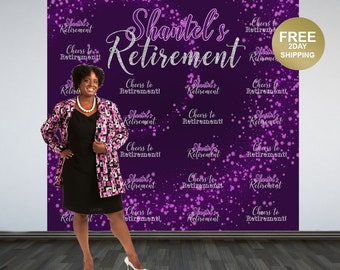 Retirement Party Personalized Photo Backdrop | Cheers to Retirement Step and Repeat Photo Backdrop | Birthday Backdrop | Retirement Backdrop