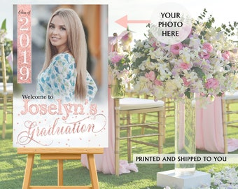 Graduation Photo Welcome Sign - Grad Party Welcome Sign - Welcome Sign Congrats, Foam Board Sign, Graduation Sign, Class of 2019, Rose Gold
