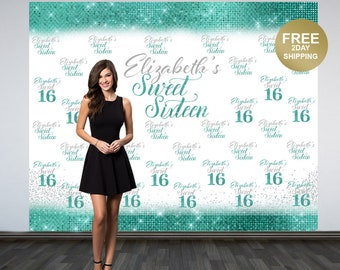 Sweet 16 Personalized Photo Backdrop | Aqua 16th Birthday Photo Backdrop | Step and Repeat Photo Backdrop | Silver Sweet 16 Photo Backdrop