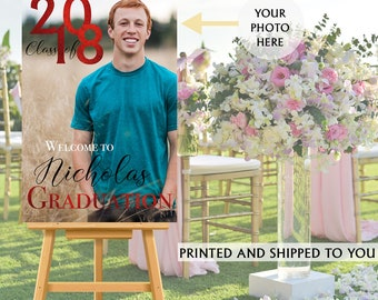 Graduation Photo Welcome Sign - Grad Party Welcome Sign - Welcome Sign Congrats, Foam Board Sign, Welcome to the Party Sign, Class of 2018