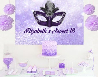 Masquerade Mask Personalized Party Backdrop - Birthday Cake Table Backdrop - Sweet 16 Backdrop, Printed Vinyl Backdrop, Birthday Backdrop