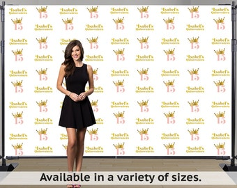Birthday Princess Step and Repeat Personalized Photo Backdrop -Sweet 15 Photo Backdrop- Sweet Sixteen Photo Backdrop, 16th Birthday Backdrop