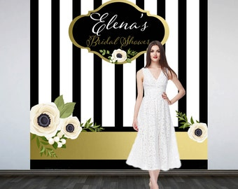 Modern Elegance Personalized Photo Backdrop -Black and White Stripes Photo Backdrop- Bridal Shower Photo Backdrop, Birthday Backdrop