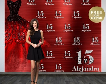 Mis Quince Años Personalized Photo Backdrop | 15th Birthday Photo Backdrop | Step & Repeat Photo Backdrop, Birthday Backdrop | Red Dress