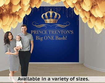 Royal Prince Birthday Party Personalized Photo Backdrop - First Birthday Photo Backdrop- Photo Booth Backdrop, Royal Baby Shower Backdrop